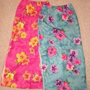 2 Gorgeous Floral Print Side Slit Skirts